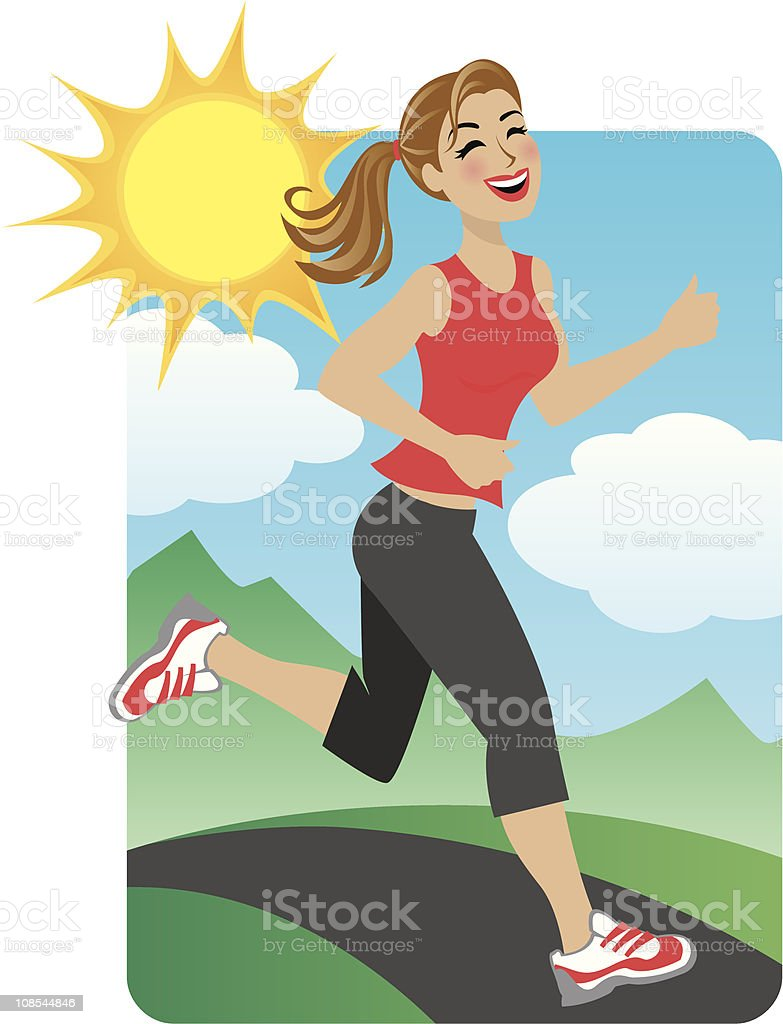 Woman Running in the Park royalty-free stock vector art