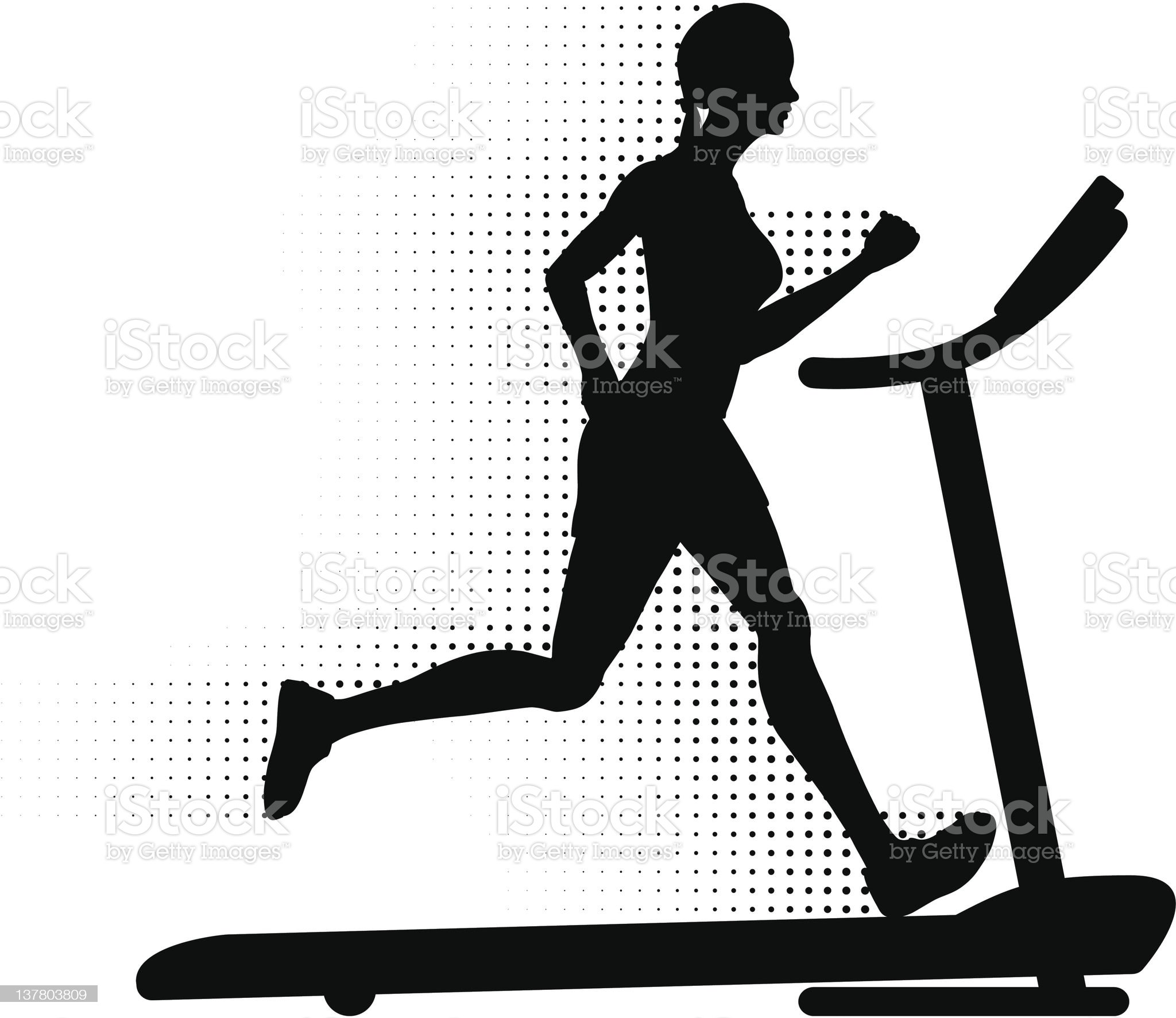 Woman Running on a Treadmill royalty-free stock vector art