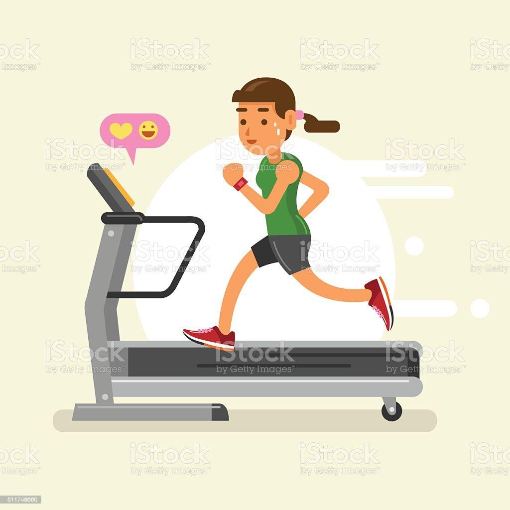 woman running on a treadmill. vector illustration vector art illustration