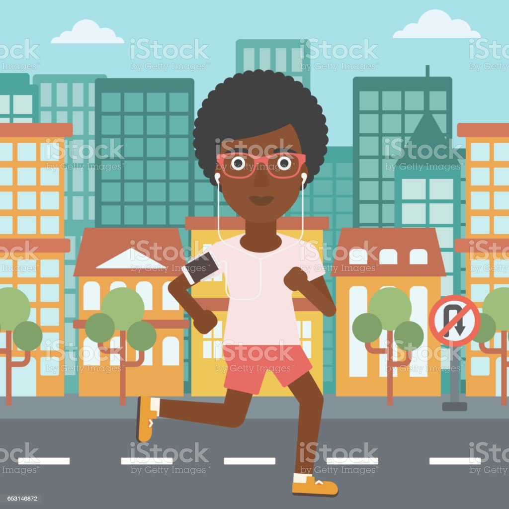 Woman running with earphones and smartphone vector art illustration