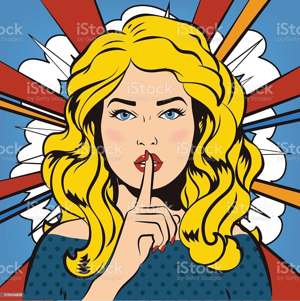 Woman says Shh for silence. Comics style. It's a secret! vector art illustration