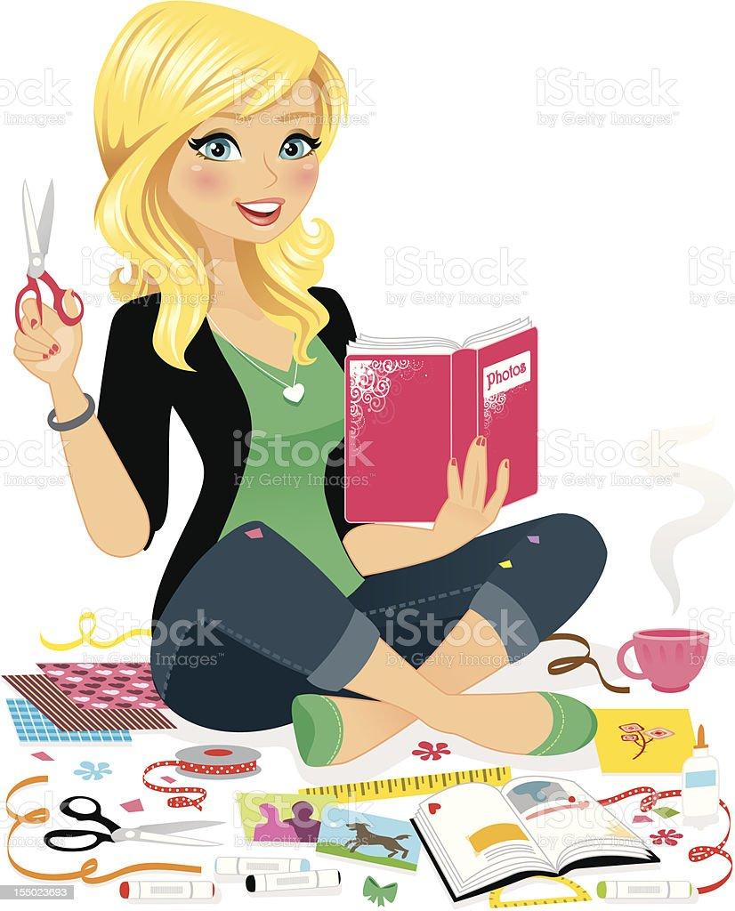Woman Scrap Booking vector art illustration