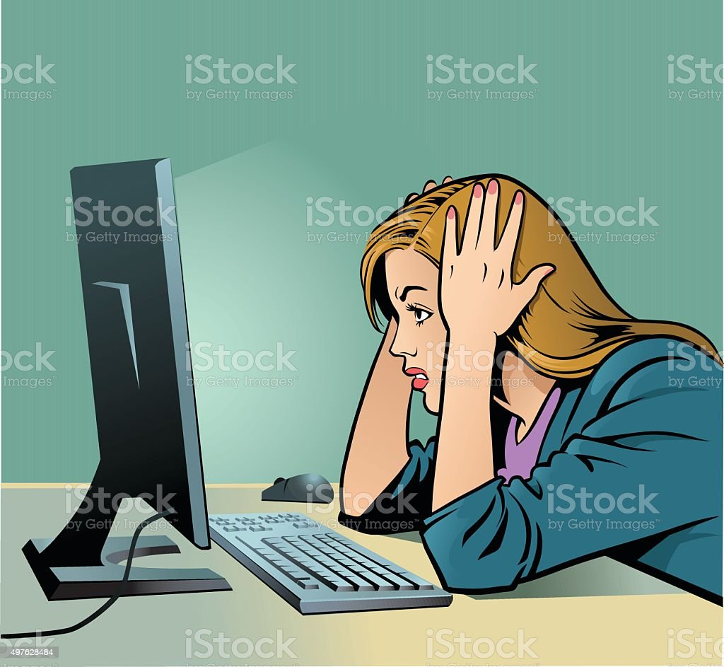 Woman Screaming at Computer - Business vector art illustration