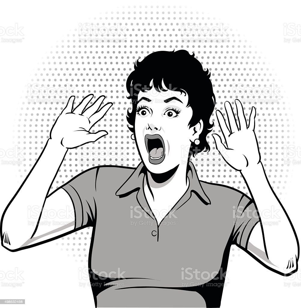 Woman Screaming Hysterically - Black and White vector art illustration