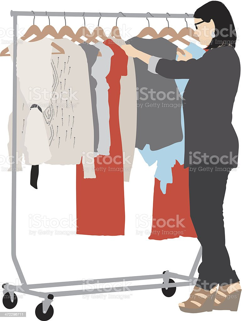 Woman searching her wardrobe royalty-free stock vector art