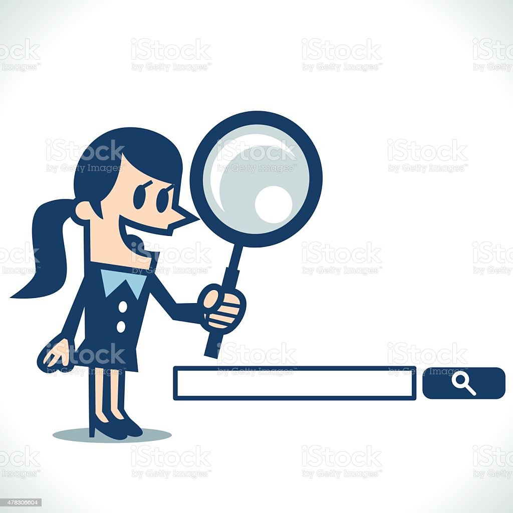 Woman searching with magnifying glass vector art illustration