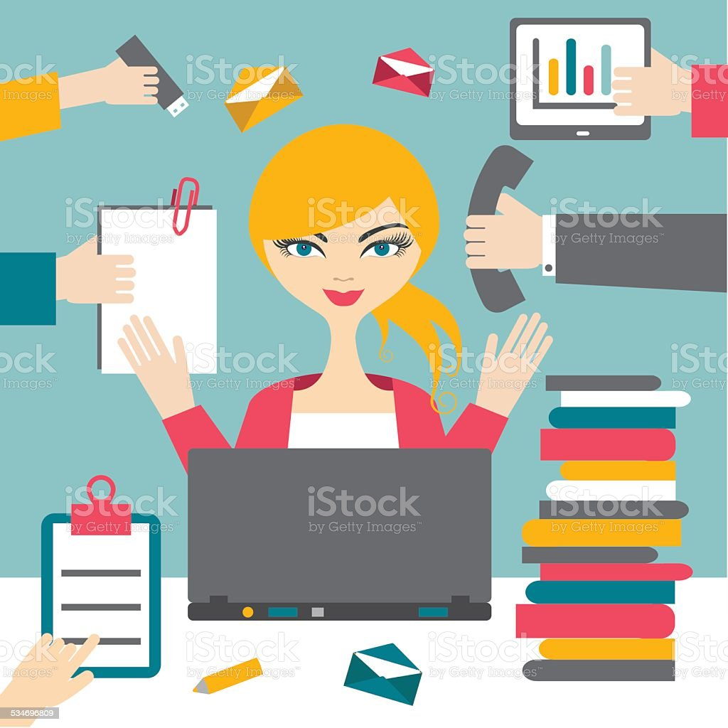 Woman secretary hard working. Busy business woman. vector art illustration
