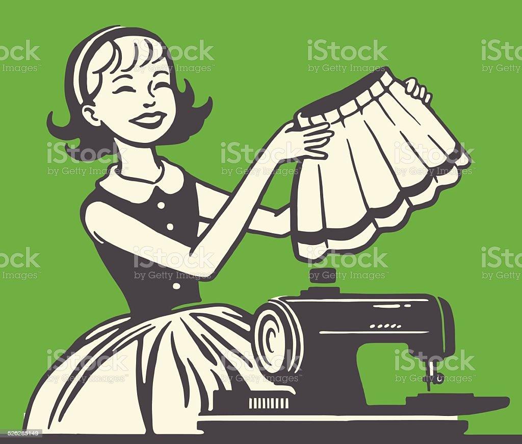 Woman Sewing a Skirt vector art illustration