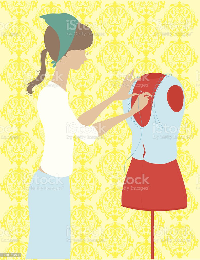 Woman Sewing by Hand royalty-free stock vector art
