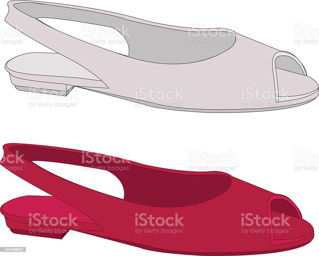 Woman shoes vector art illustration