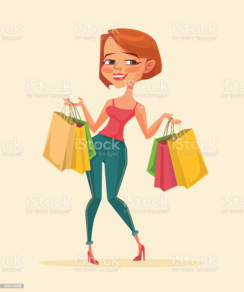 Woman shopping bags. Shopping sale. Shopping discount royalty-free stock vector art