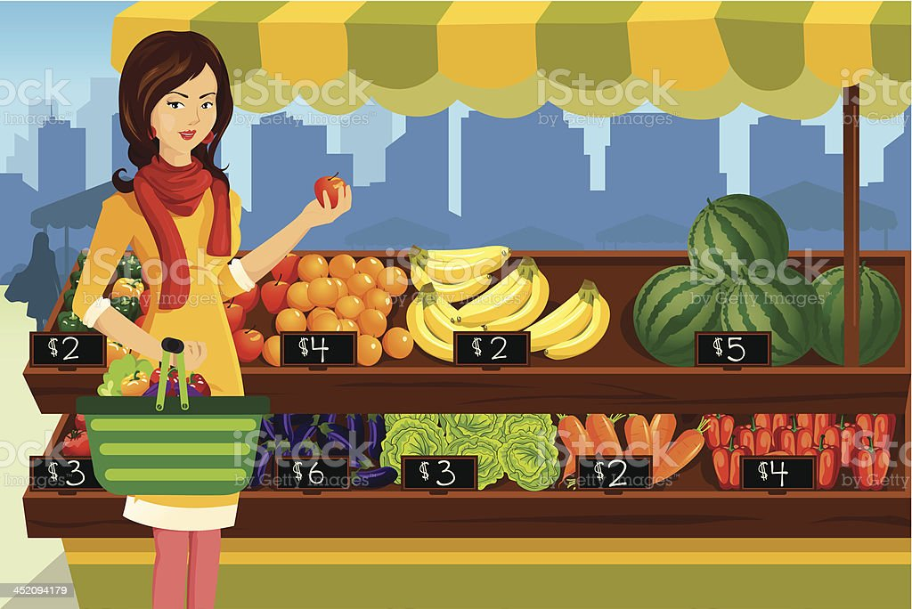 Woman shopping in an outdoor farmers market royalty-free stock vector art