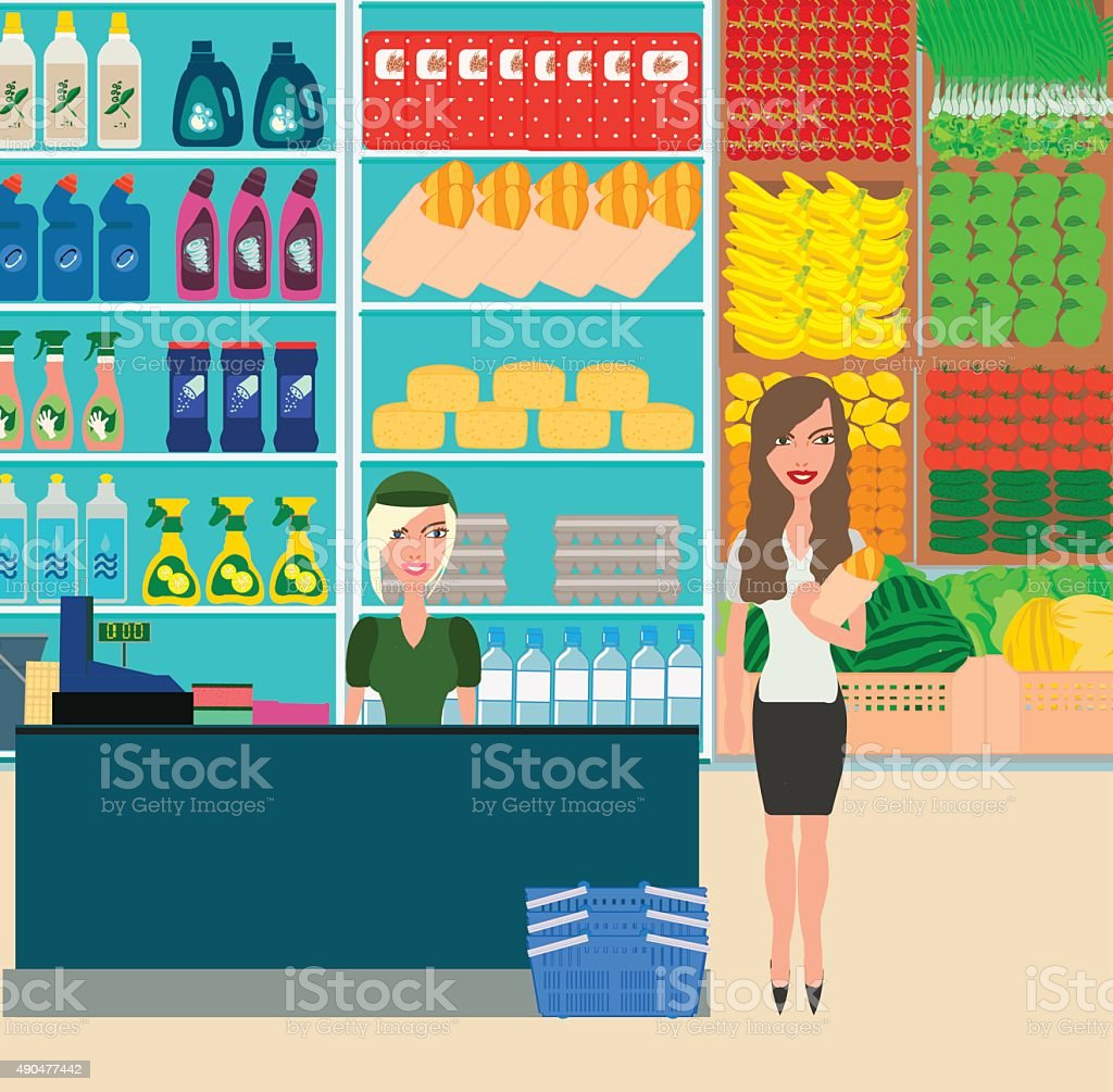 Woman shopping in grocery store. Customer market, sale supermark vector art illustration