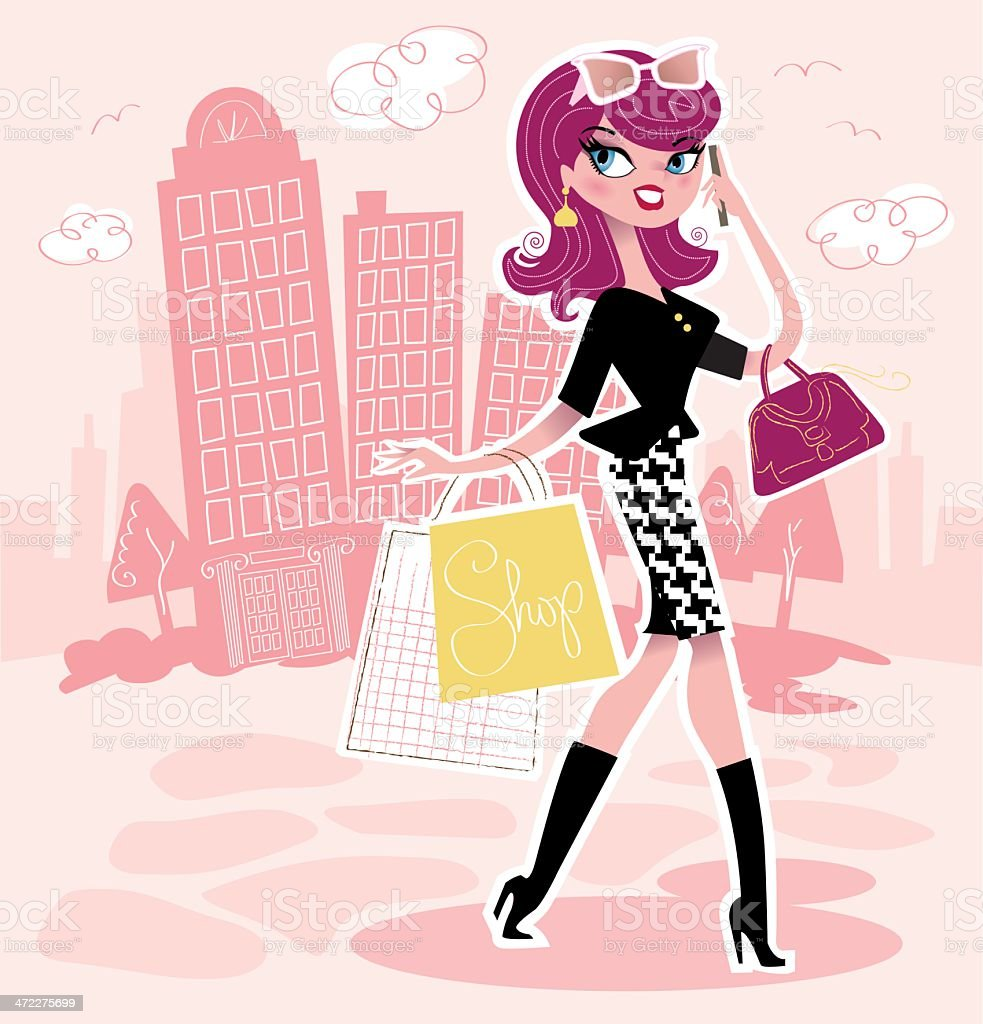 Woman Shopping in the City vector art illustration