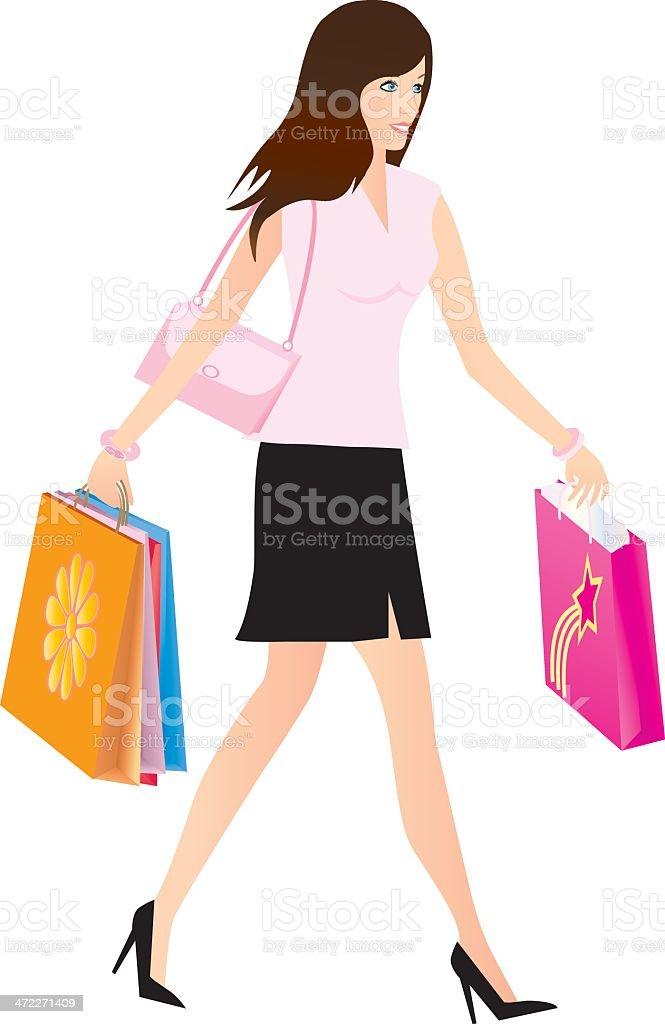 Woman Shopping royalty-free stock vector art