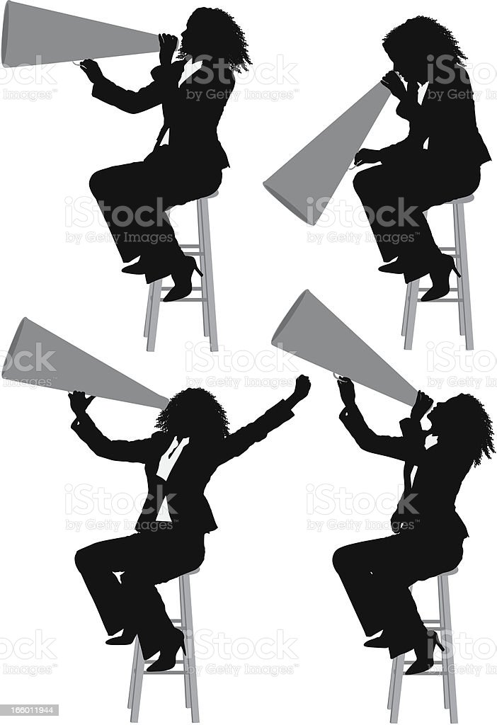 Woman shouting into a bullhorn royalty-free stock vector art