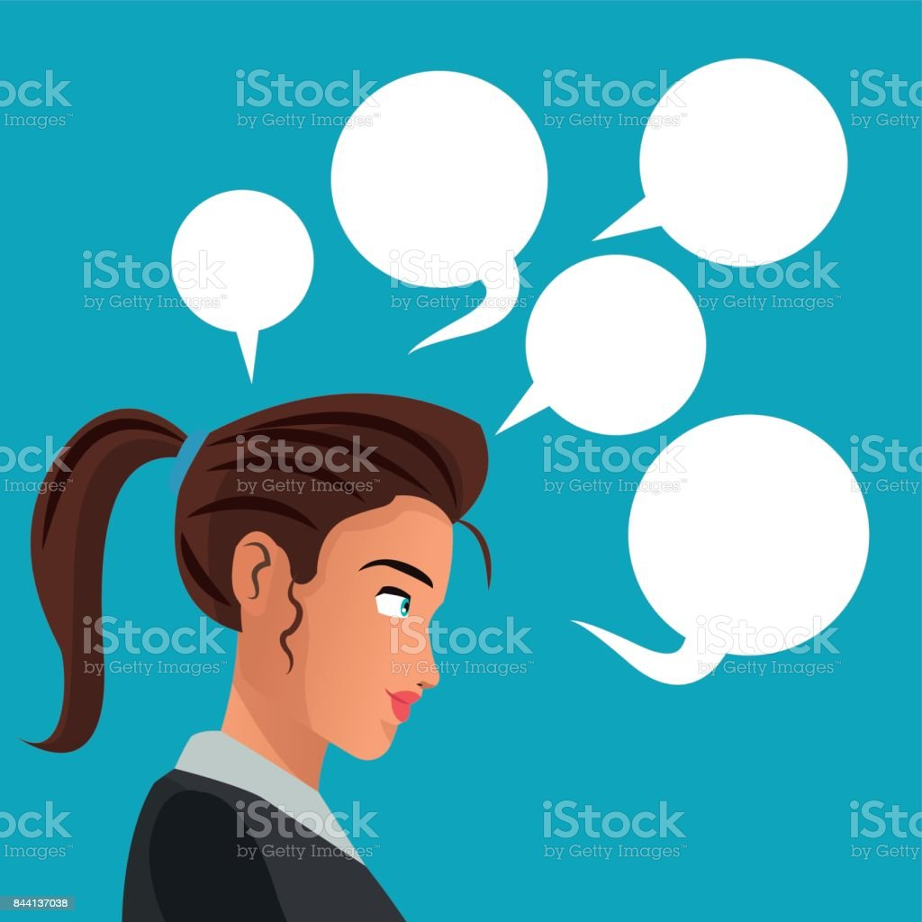 woman side thinking with bubbles speech vector art illustration