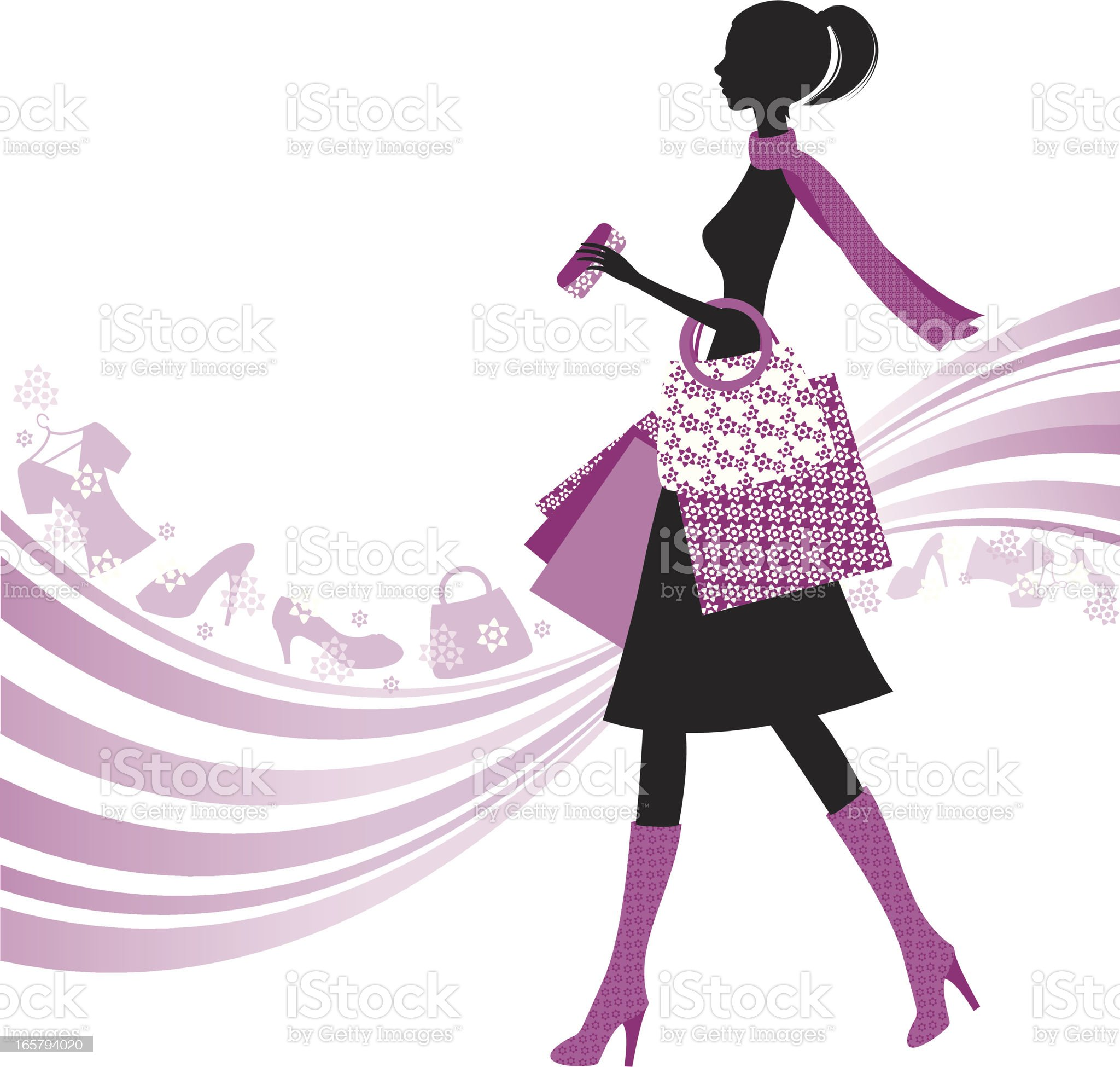 Woman Silhouette Shopping royalty-free stock vector art