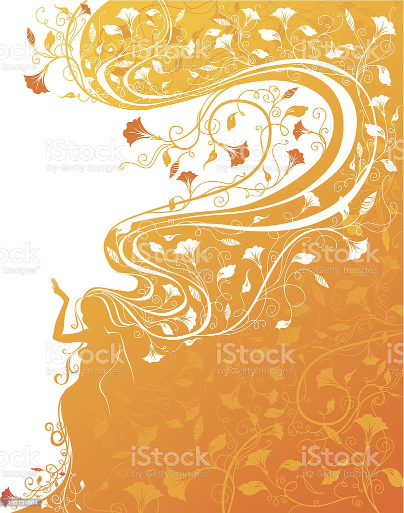 Woman silhouette with flowers royalty-free stock vector art