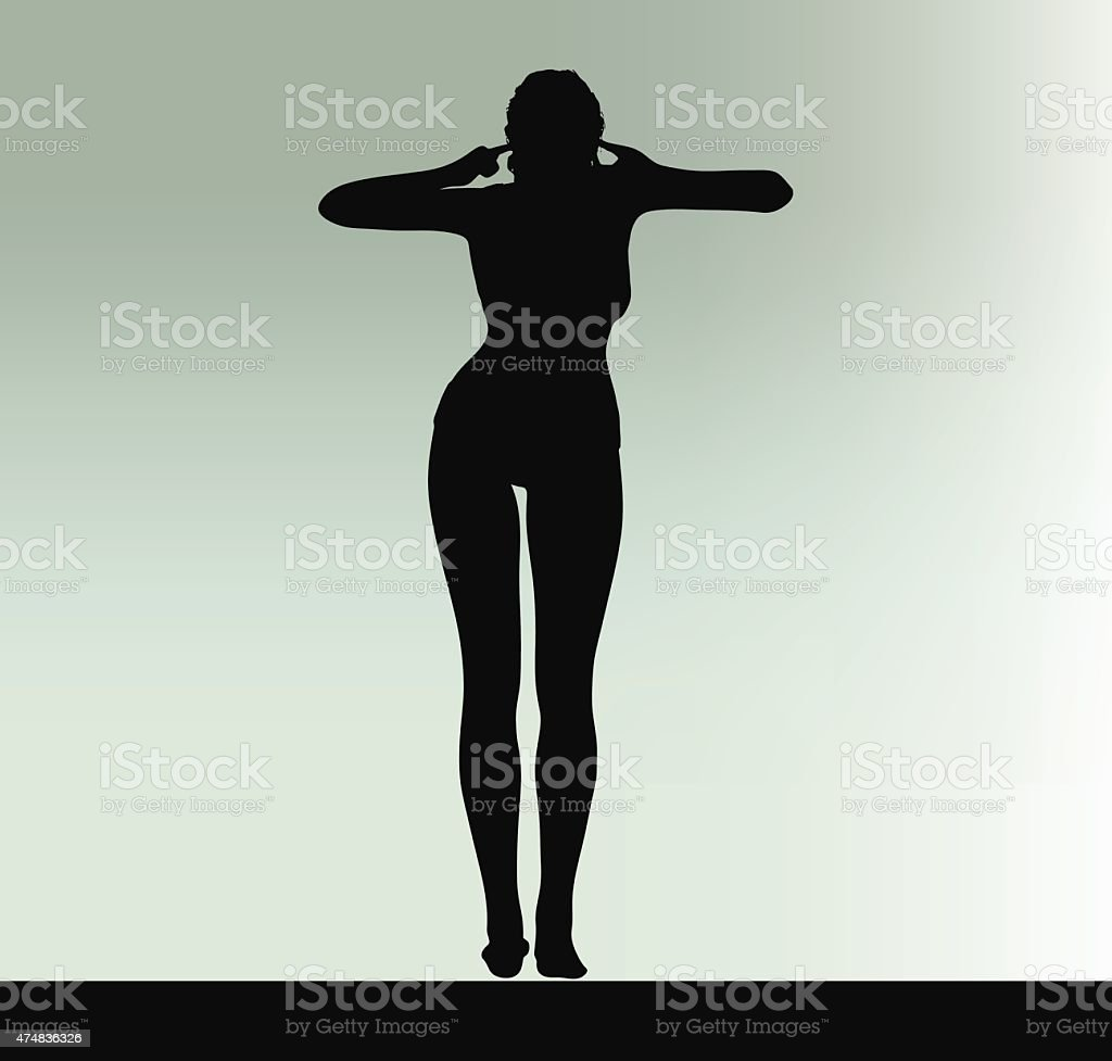 woman silhouette with hand gesture turn a deaf ear vector art illustration