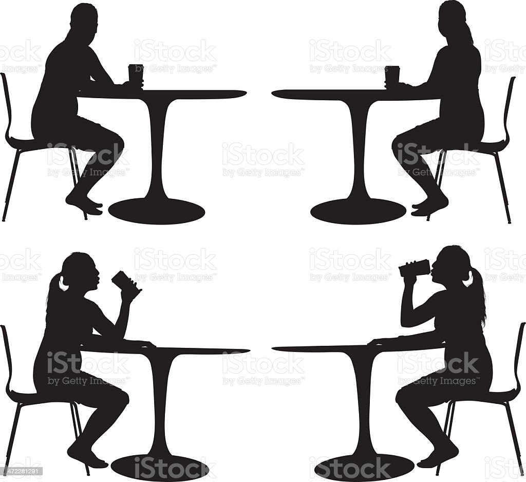 Woman sitting alone at table drinking royalty-free stock vector art