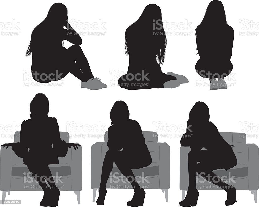 Woman sitting and in various actions vector art illustration