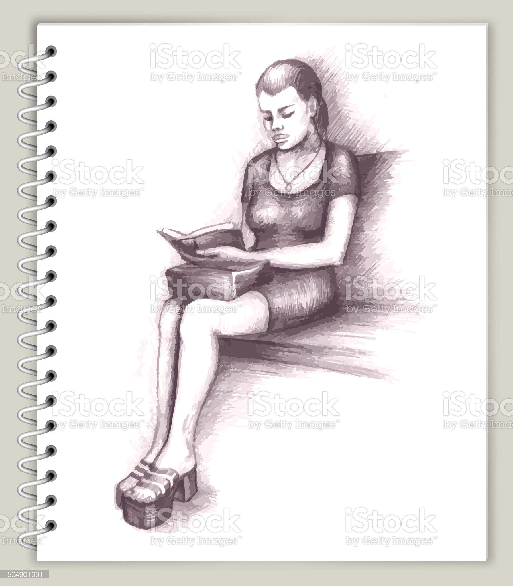 Woman Sitting Drawing on Art Sketcbook royalty free vector art royalty-free stock vector art
