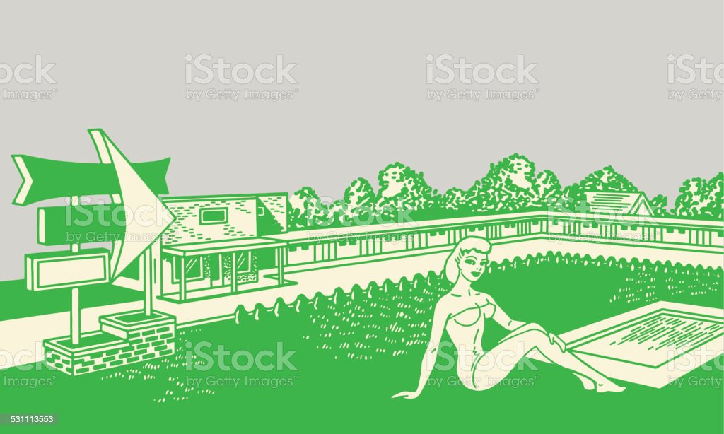 Woman Sitting in Front of Motel vector art illustration