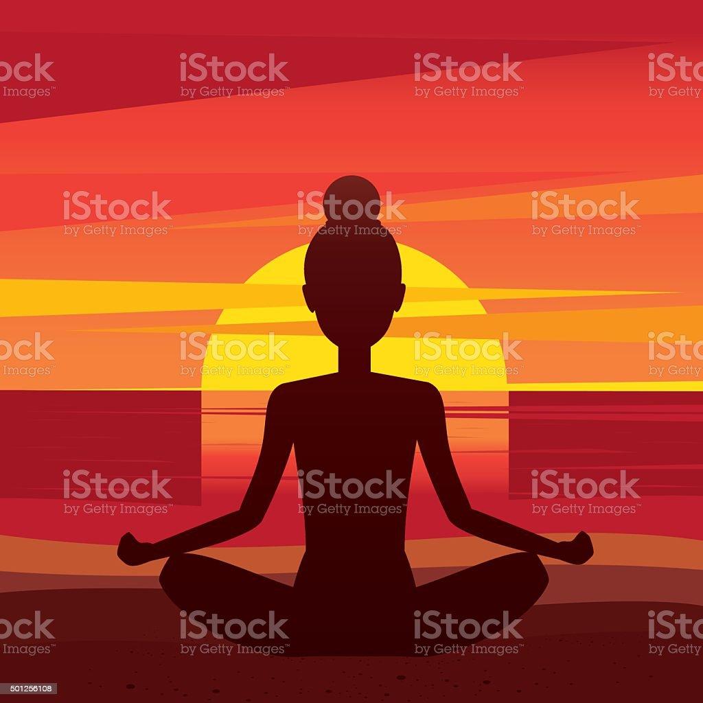 Woman sitting in yoga pose padmasana on the beach vector art illustration