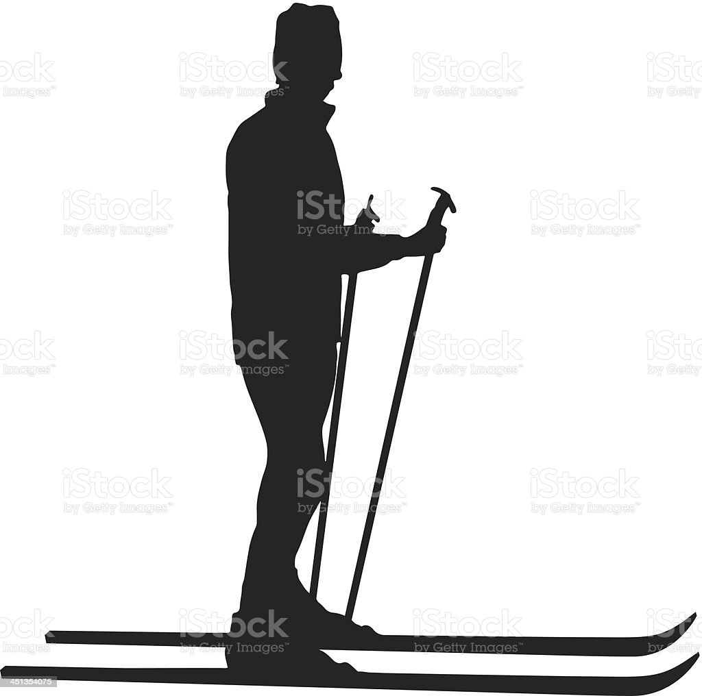 Woman skiing silhouette royalty-free stock vector art