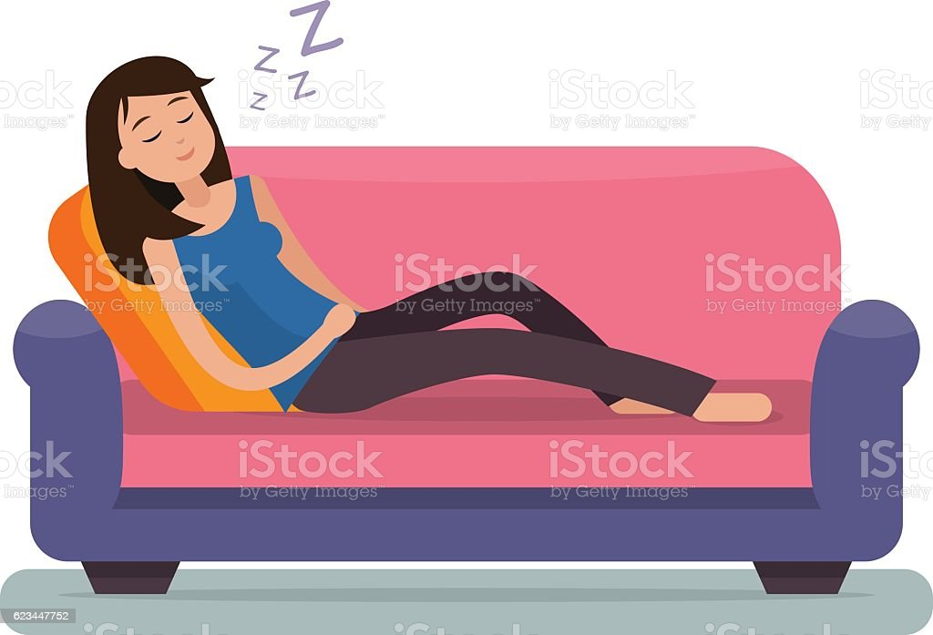 Woman sleep on sofa. vector art illustration