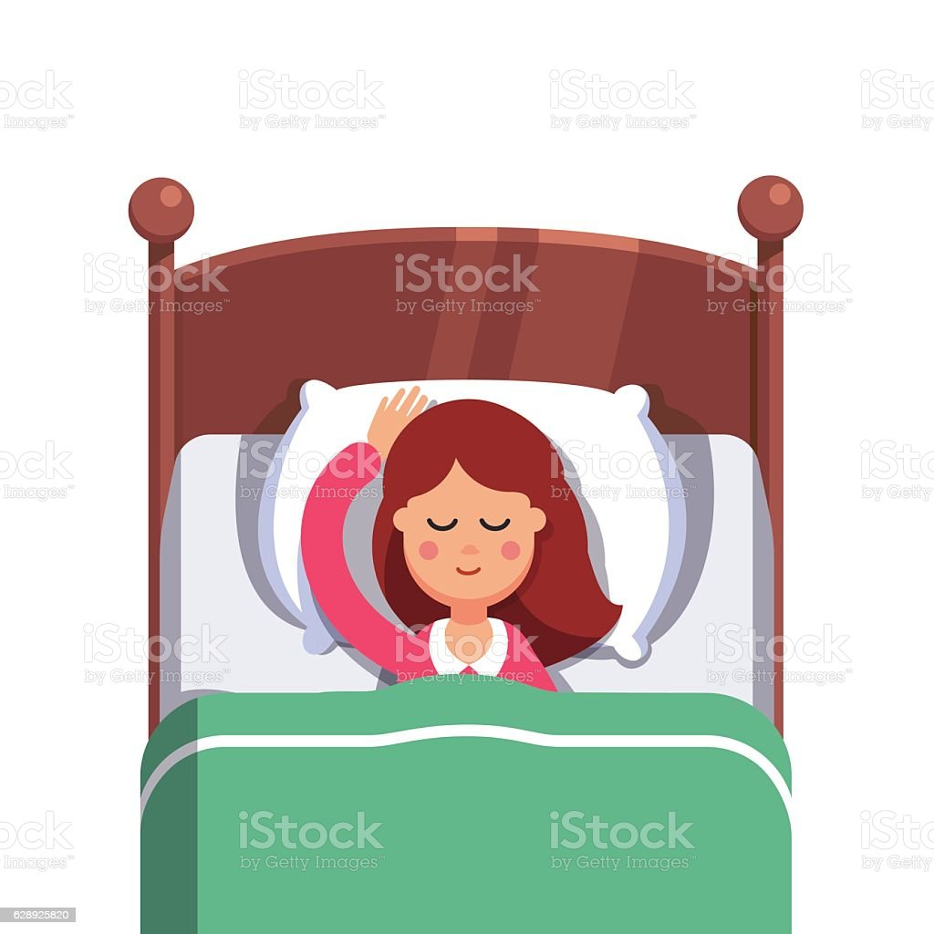 Woman sleeping peacefully smiling in her bed vector art illustration