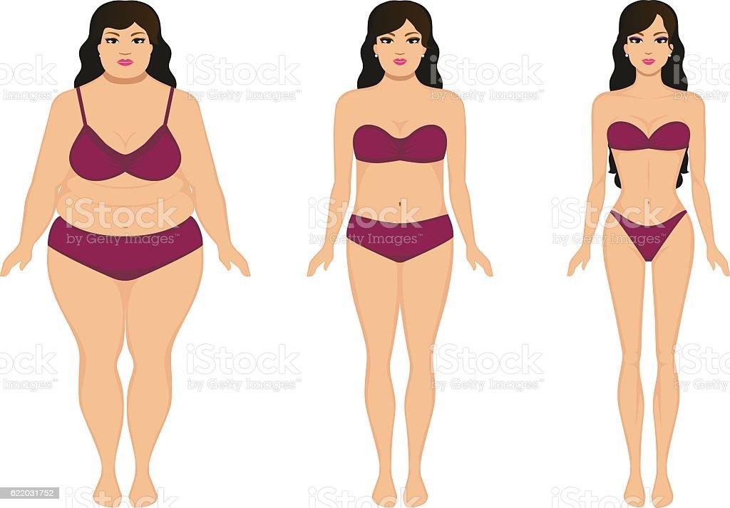 Woman slimming, fat slim girl, female weight loss vector art illustration