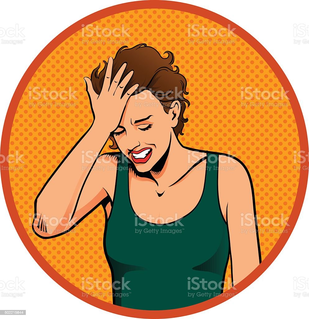 Woman Smacking Her Forehead vector art illustration