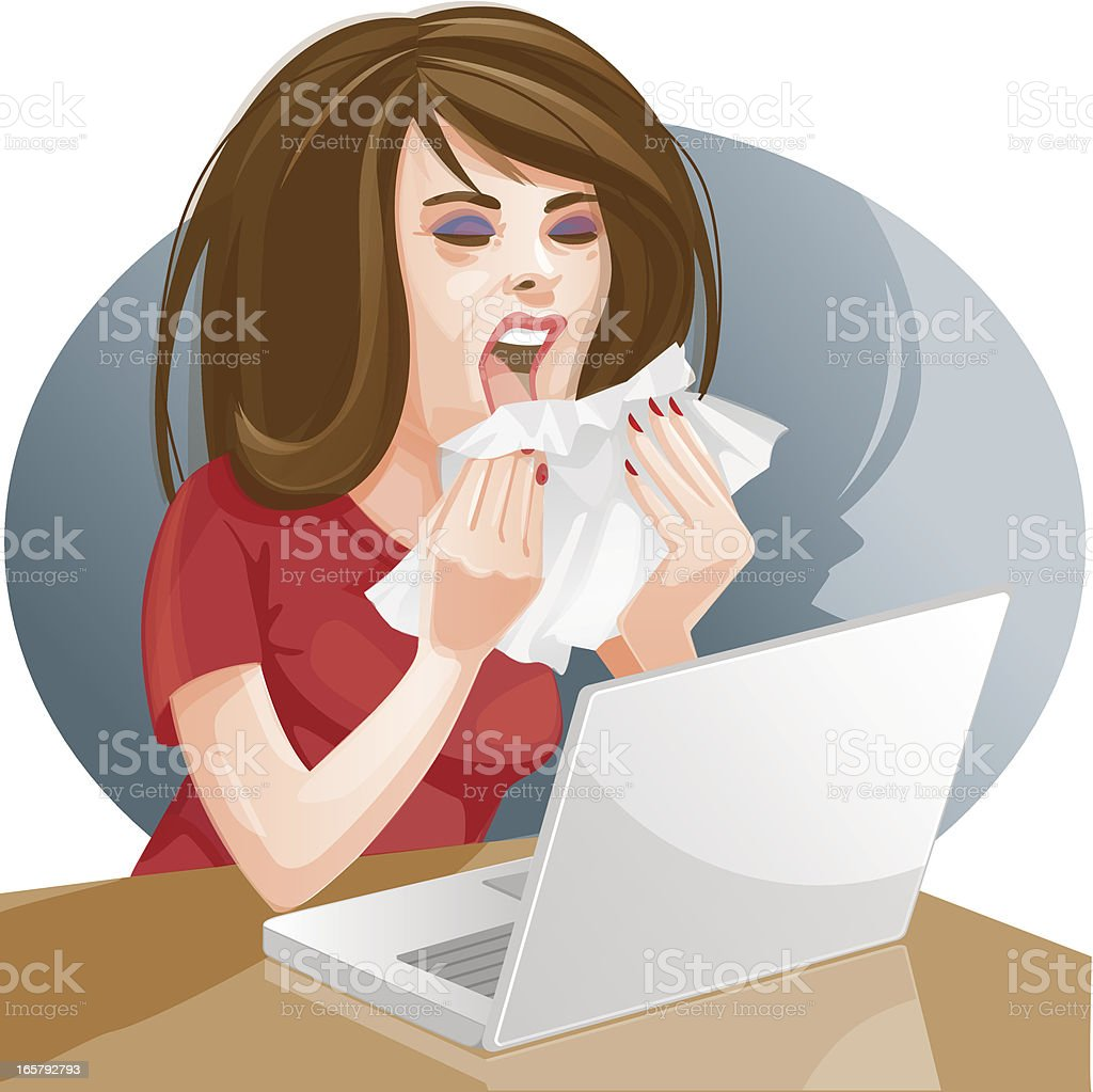 Woman sneezing at her desk royalty-free stock vector art