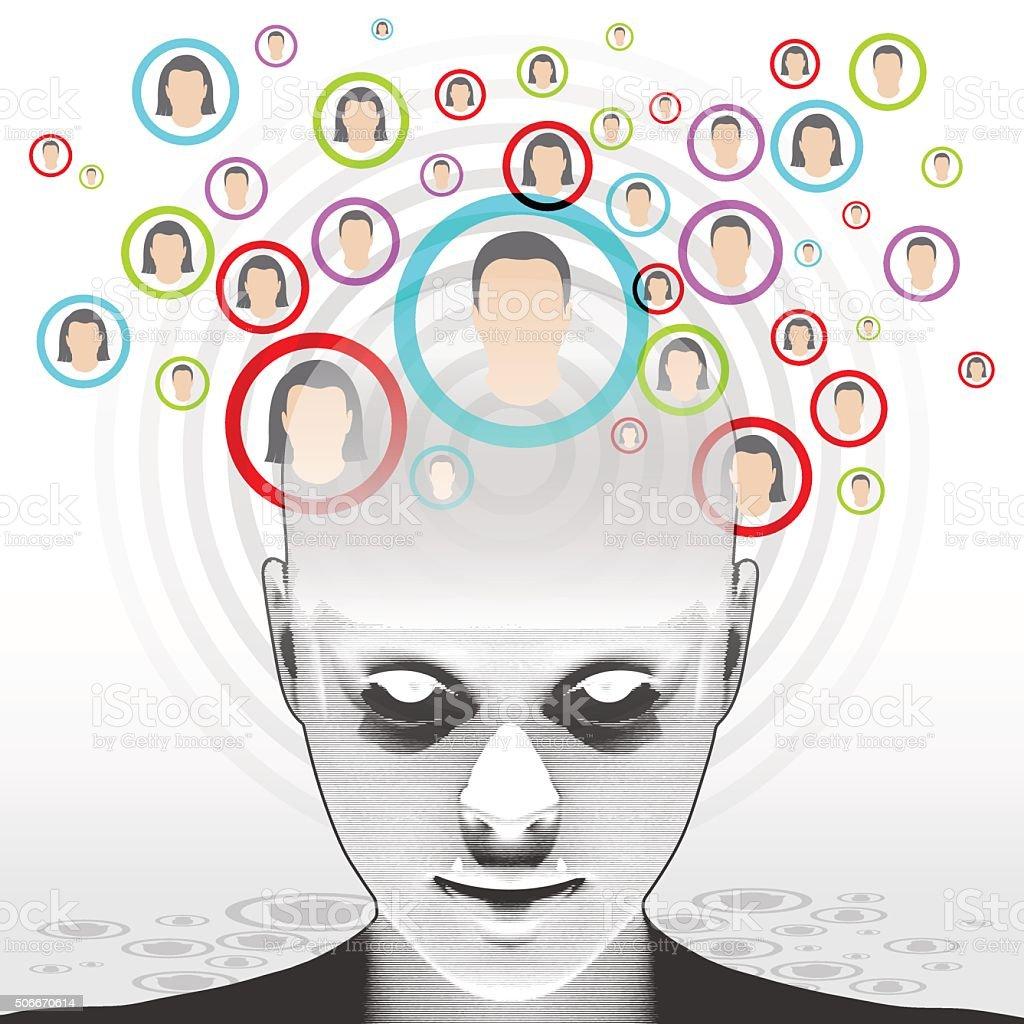 Woman - Social Network vector art illustration