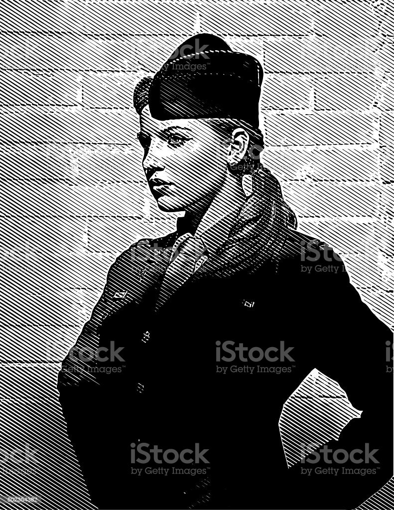 US Woman Soldier Looking Confident and Empowered vector art illustration