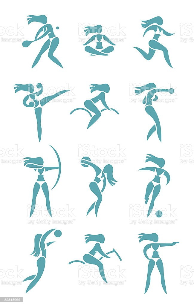 Woman sport signs royalty-free stock vector art