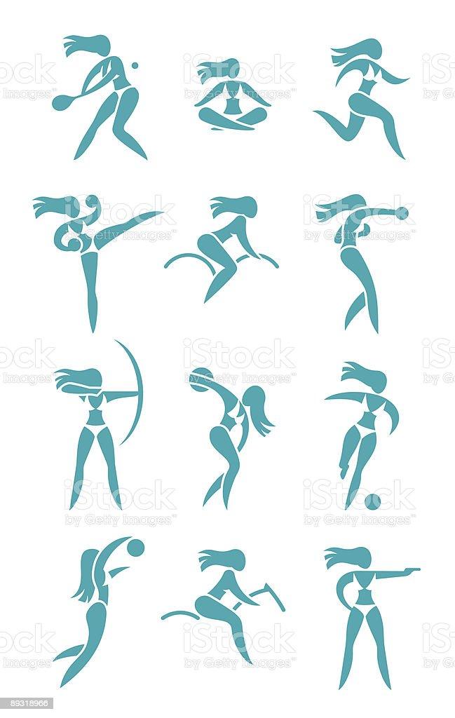 Woman sport signs vector art illustration
