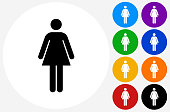 Woman Standing Icon on Flat Color Circle Buttons
