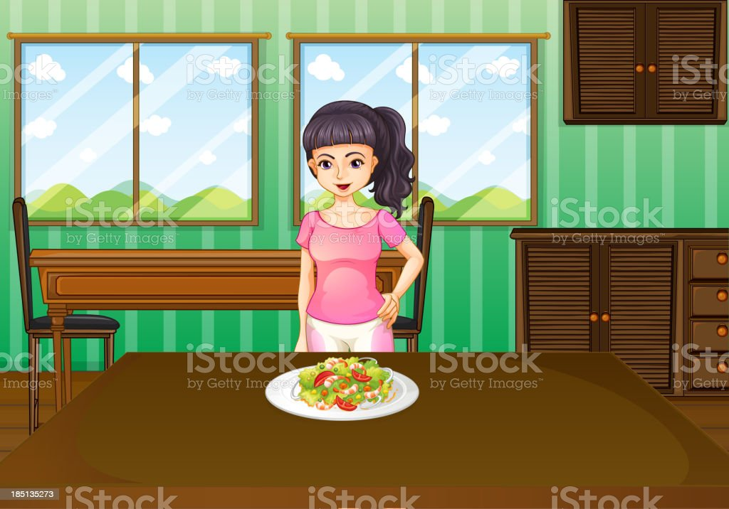 woman standing in front of a table with food royalty-free stock vector art