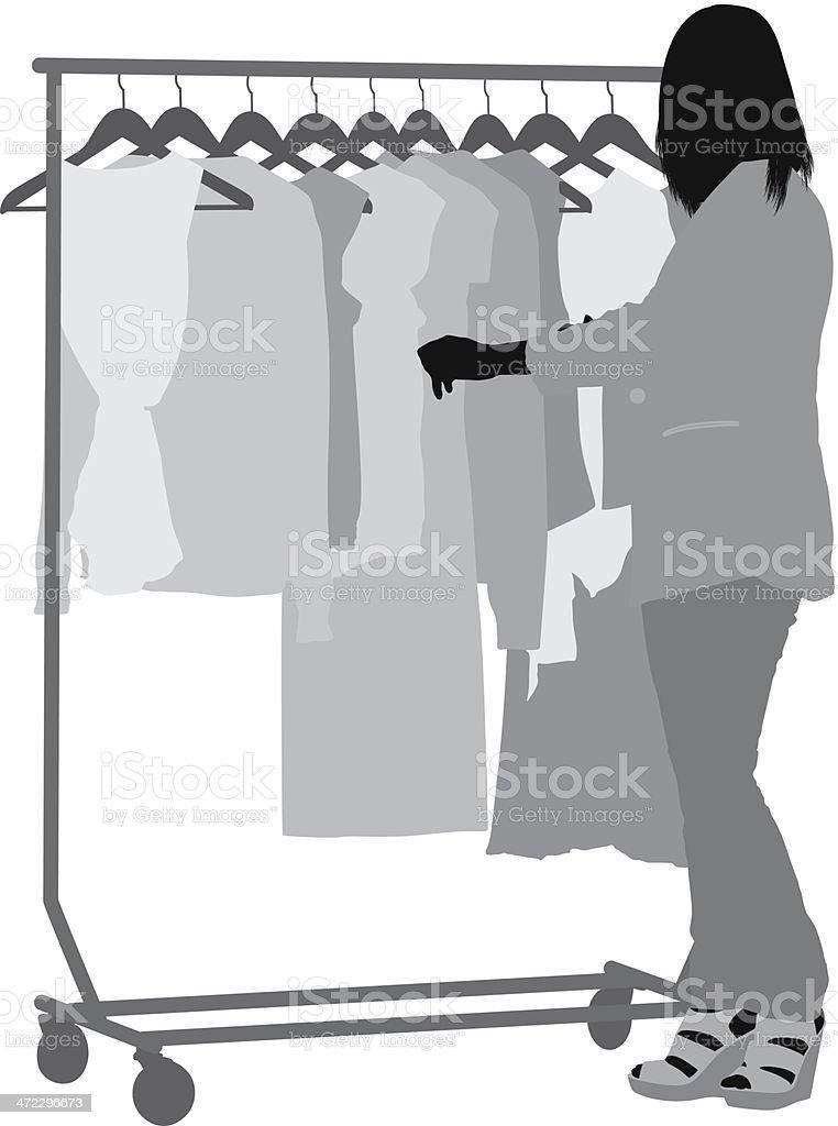 Woman standing near her wardrobe royalty-free stock vector art