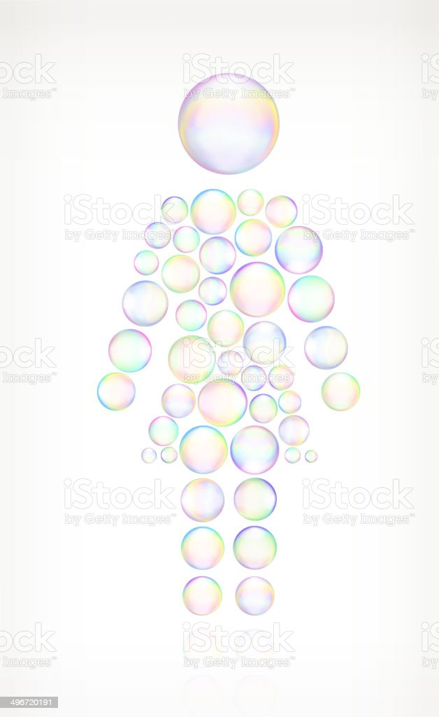Woman Standing Soap Bubbles royalty free vector icon set vector art illustration