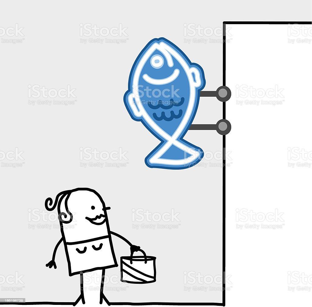 woman standing under a fish shop sign vector art illustration