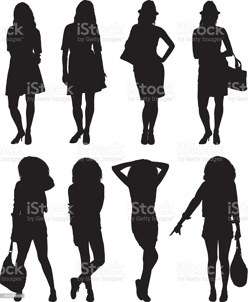 Woman standing with various action vector art illustration