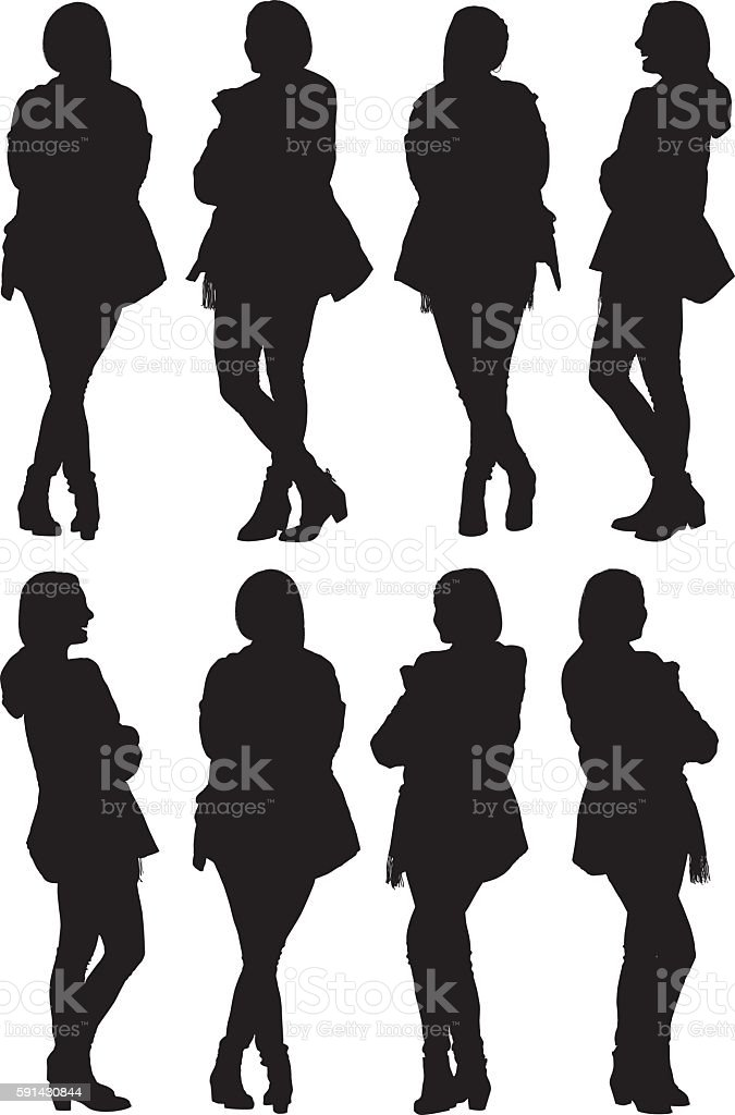 Woman standing with various views vector art illustration