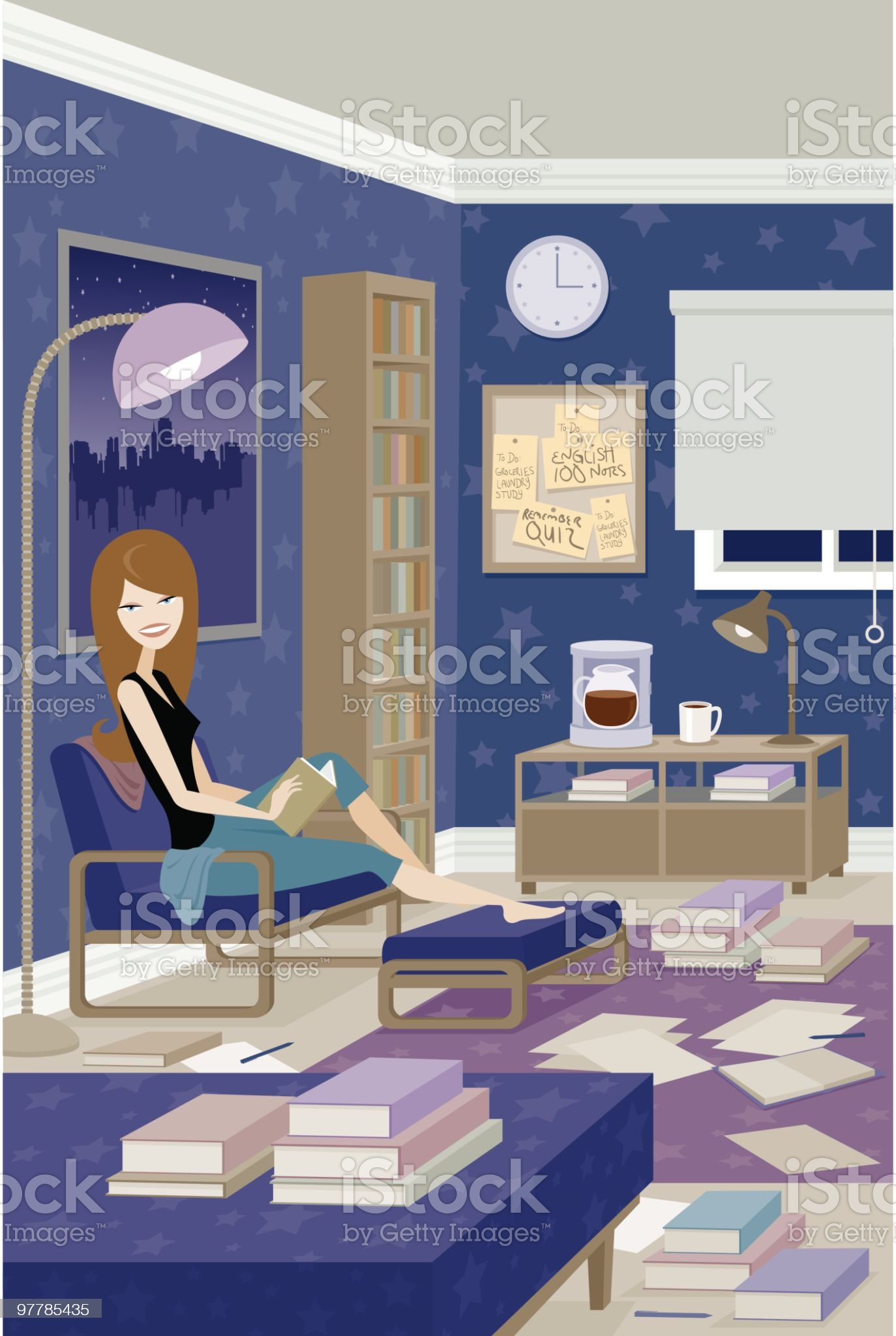 Woman Studying royalty-free stock vector art