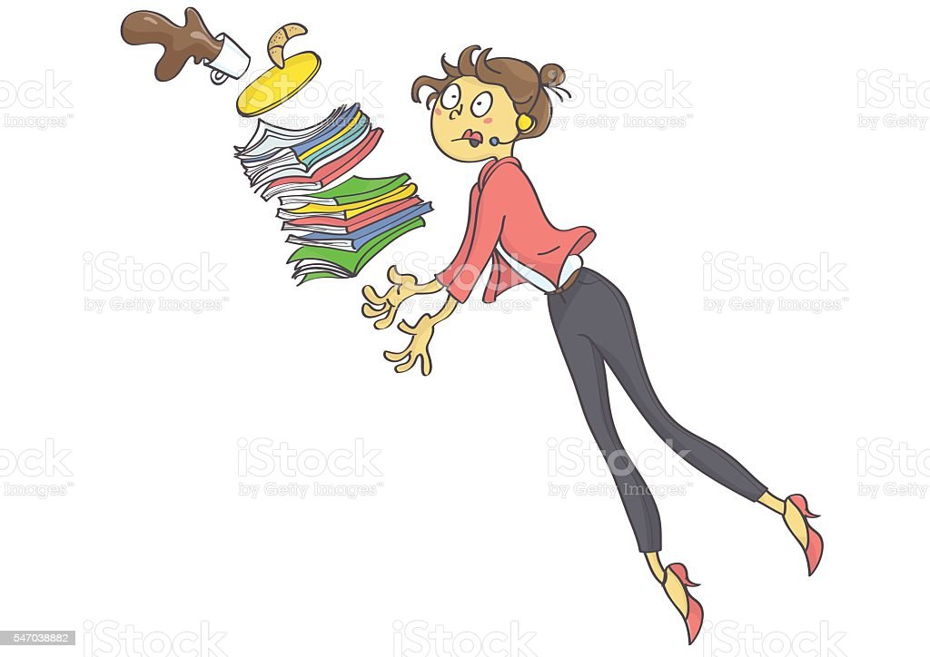 Woman stumbling and dropping office stuff vector art illustration