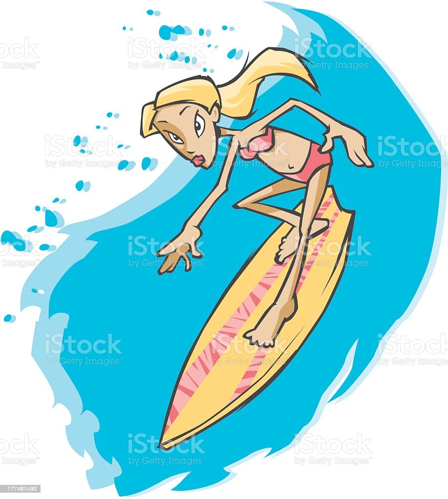 Woman Surfing royalty-free stock vector art
