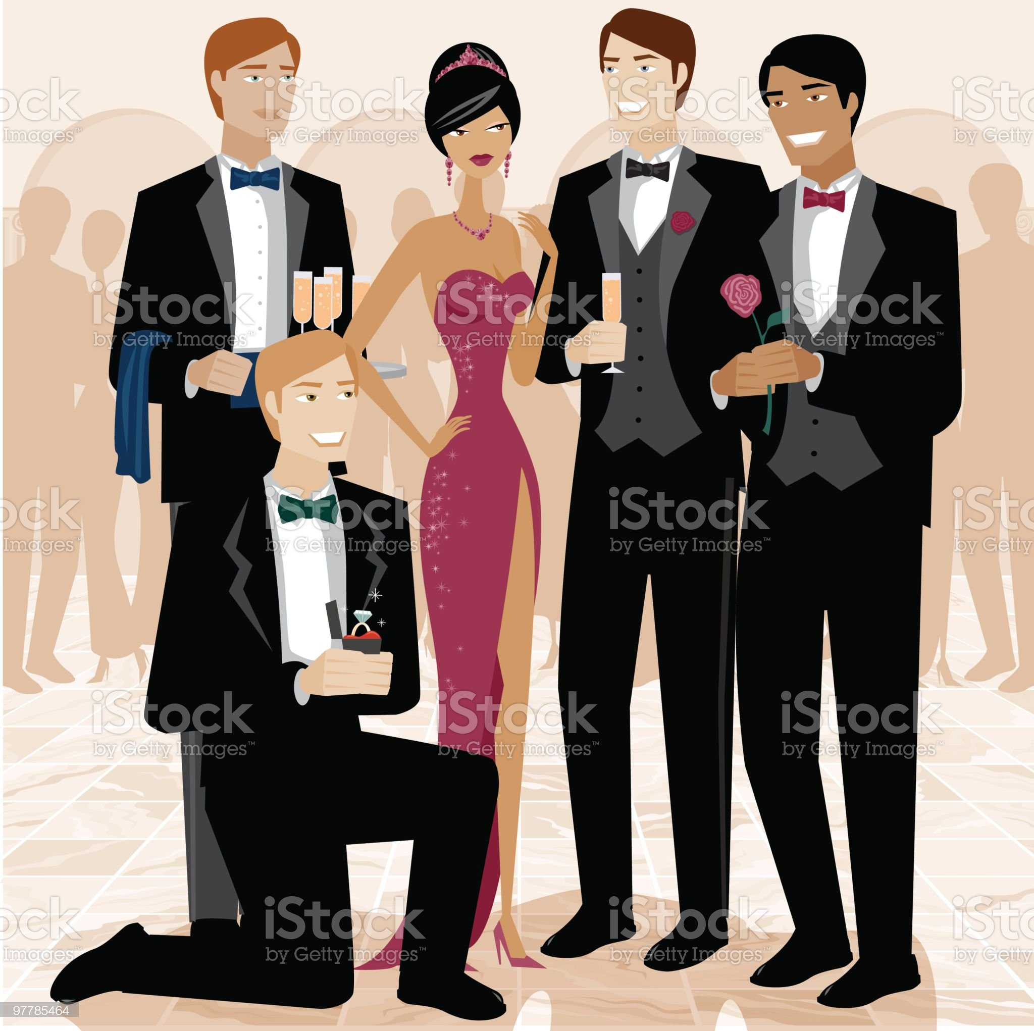 Woman Surrounded by Admirers royalty-free stock vector art